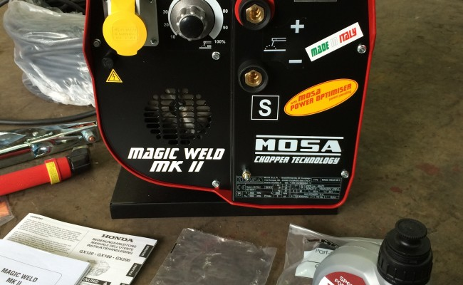 3. Mosa Magic Weld 150 Petrol Welder Generator with 110V Aux, Brand New