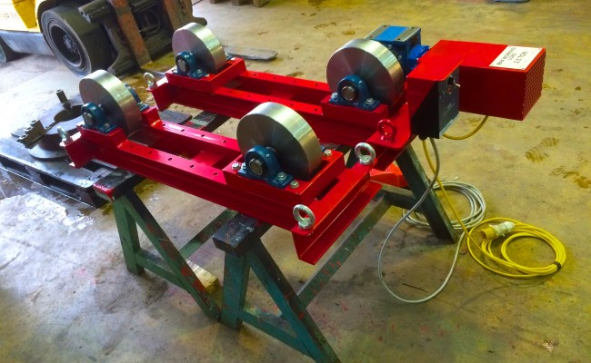 3. 2.5 tonne steel wheel pipe rollers manufactured in house