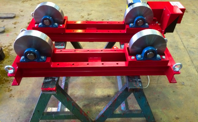 4. 2.5 tonne steel wheel pipe rollers manufactured in house