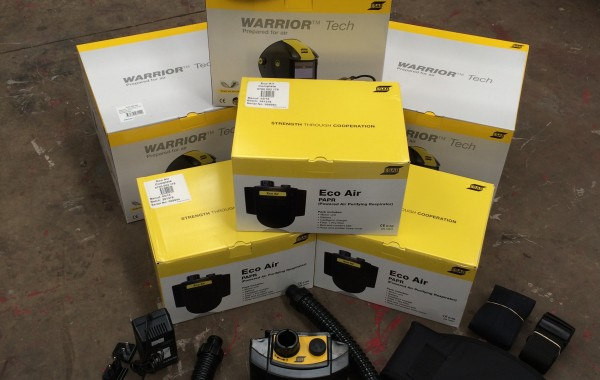 ESAB Warrior Tech Air Fed Welding Helmet, with Battery Backpack and Hose