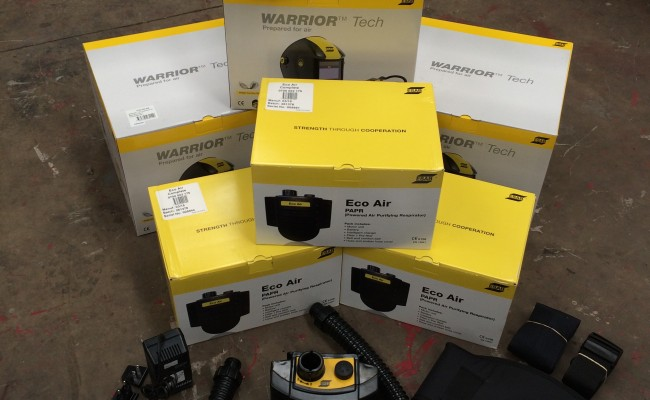 1. ESAB Warrior Tech Air Fed Welding Helmet