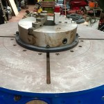 10. Used 3 Tonne Welding Positioner, blue with 3 jaw chuck