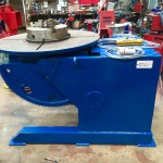 5. Used 3 Tonne Welding Positioner, blue with 3 jaw chuck