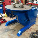 6. Used 3 Tonne Welding Positioner, blue with 3 jaw chuck