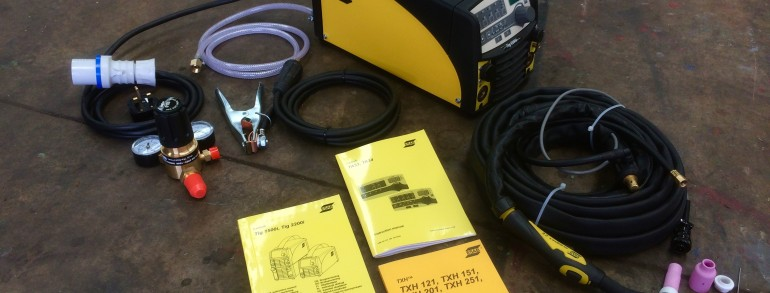 ESAB Caddy TIG 2200i TA33 or TA34 Pulsed TIG Welder Inverter Package Deal