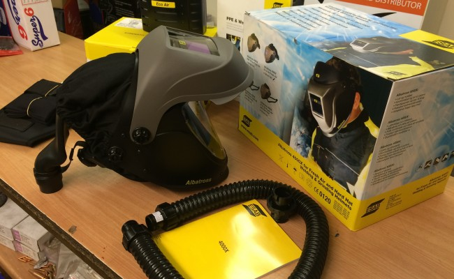2. ESAB Albatross 4000X Auto Darkening Air Fed Welding Helmet with Internal Grinding Visor
