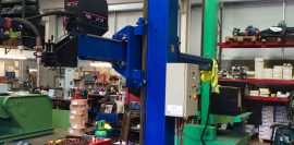 Lincoln Electric CV 500-I and Lincoln Electric LF38 Wire Feeder Water Cooled MIG Welding Machine Package coupled with BODE 3m x 3m Column and Boom Welding Manipulator for Automated MIG Welding