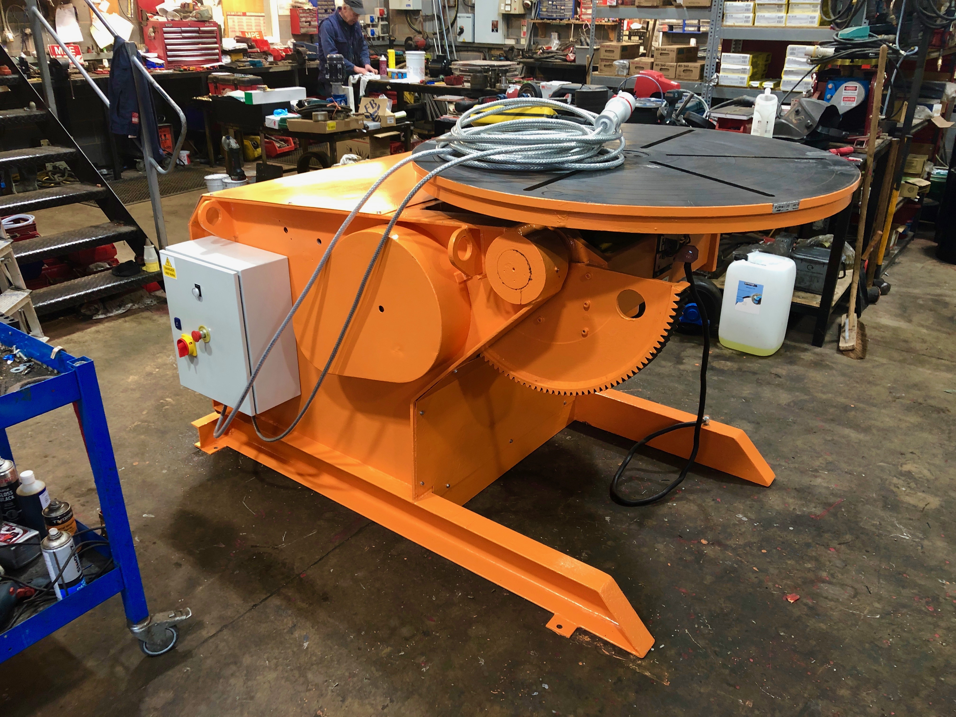 BODE 3 tonne SWL welding positioner, stripped, refurbished, and painted orange