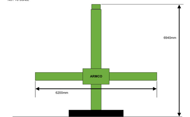 Armco 5.5 x 4.6 Column and Boom Dimensions, Rough Sketch
