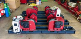 New 5 tonne SWL long frame twin drive conventional welding rotators 415V