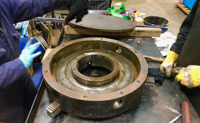 Refurbishing BODE 100SP 5 tonne SWL welding positioner with 600mm 3 jaw chuck-25