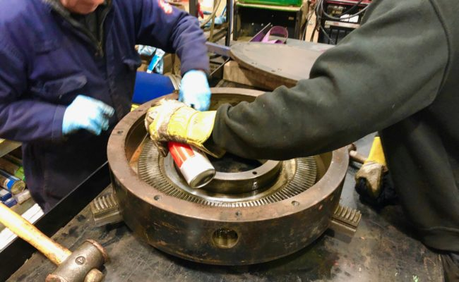 Refurbishing BODE 100SP 5 tonne SWL welding positioner with 600mm 3 jaw chuck-26