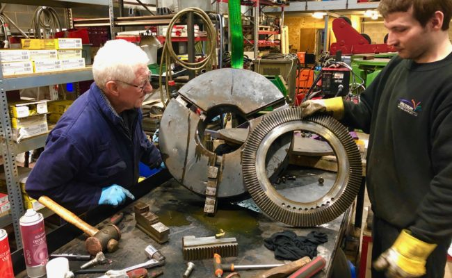 Refurbishing BODE 100SP 5 tonne SWL welding positioner with 600mm 3 jaw chuck-29